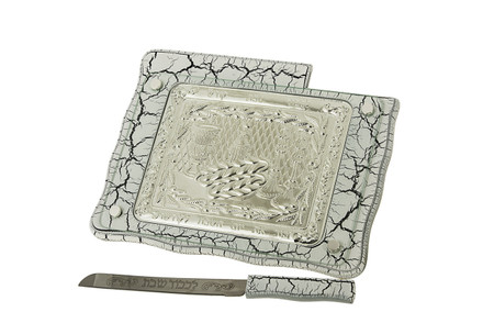 White Marble & Silver Plate Challah Board w/ Knife (29249)