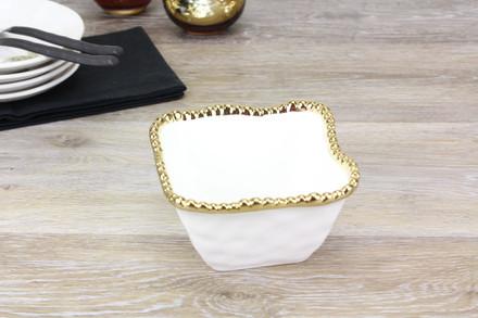 Pampa Bay Golden Salerno Square Snack Bowl (CER-2251-WG)