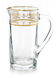 Classic Touch Gold Artwork Crystal Pitcher