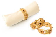 Classic Touch Jeweled Gold Napkin Ring Set (4 pc. Set)