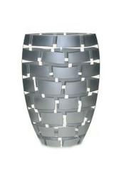 """Badash Glass Mouth Blown European 12"""" Vase - Silver Wall"""