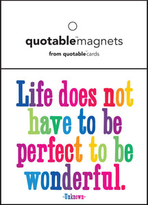 Life does not have to be perfect top be wonderful  --magnet