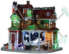 35548 - Last House on the Left, Set of 2, with 4.5v Adaptor  - Lemax Spooky Town Halloween Village Houses & Buildings