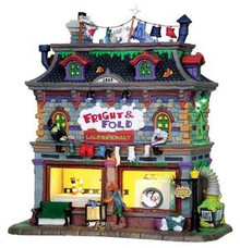 25332 - Fright & Fold Laundromat, with 4.5v Adaptor  - Lemax Spooky Town Halloween Village Houses & Buildings