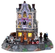 25335 - Village Undertaker, Set of 9, with 4.5v Adaptor  - Lemax Spooky Town Halloween Village Houses & Buildings