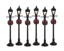 64499 -  Gas Lantern Street Lamp, Set of 6, Battery-Operated (4.5v) - Lemax Christmas Village Misc. Accessories