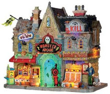 35551 - Monster Arcade, with 4.5v Adaptor  - Lemax Spooky Town Halloween Village Houses & Buildings