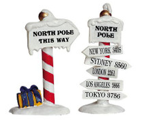 64455 -  North Pole Signs, Set of 2 - Lemax Christmas Village Misc. Accessories