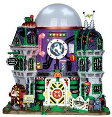 35549 - Ghost Containment Building, with 4.5v Adaptor  - Lemax Spooky Town Halloween Village Houses & Buildings