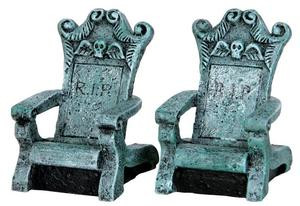34615 - Tombstone Chairs, Set of 2  - Lemax Spooky Town Halloween Village Accessories