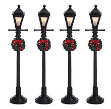 64498 -  Gas Lantern Street Lamp, Set of 4, Battery-Operated (4.5v) - Lemax Christmas Village Misc. Accessories