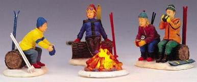04468 -  Skiers' Camp Fire, Set of 4, B/O (4.5v) -  Lemax Christmas Village Table Pieces