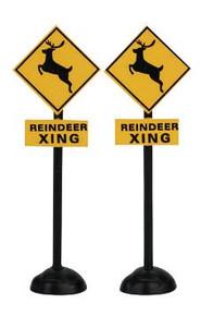 64460 -  Reindeer Crossing Signs, Set of 2 - Lemax Christmas Village Misc. Accessories