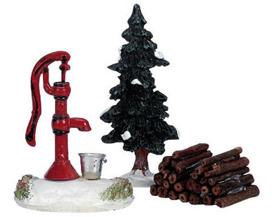 34953 -  Water Pump, Tree & Firewood, Set of 3 - Lemax Christmas Village Misc. Accessories