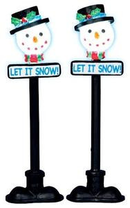 34640 - Snowman Street Lamp, Set of 2, Battery-Operated (4.5v)  - Lemax Christmas Village Misc. Accessories