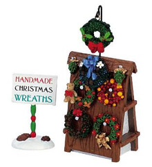 64468 -  Wreath Display, Set of 2 - Lemax Christmas Village Misc. Accessories
