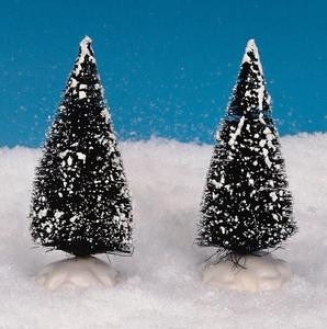 14004 - Bristle Tree, Set of 2, Small - Lemax Christmas Village Trees