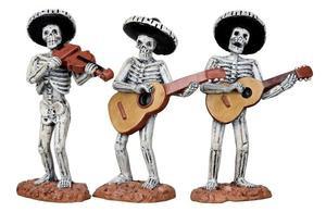 12884 - Skeleton Mariachi Band, Set of 3 - Lemax Spooky Town Halloween Village Figurines