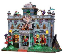 15201 - Horror High School, with 4.5v Adaptor - Lemax Spooky Town Halloween Village Houses & Buildings
