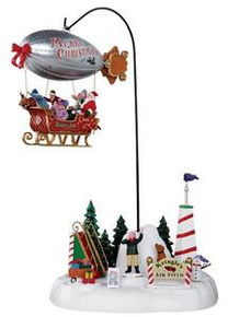 24484 - Kringle's Air Field, with 4.5v Adaptor  - Lemax Christmas Village Table Pieces