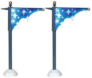 24511 - Star Street Banner, Set of 2, Battery-Operated (4.5v)  - Lemax Christmas Village Misc. Accessories
