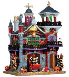 15191 - Spookytown Fire Department, with 4.5v Adaptor - Lemax Spooky Town Halloween Village Houses & Buildings