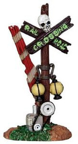 24464 - Rotten Railroad Crossing  - Lemax Spooky Town Halloween Village Accessories
