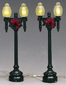 34892 -  Globe Street Lamp, Set of 2, Battery-Operated (4.5v) - Lemax Christmas Village Misc. Accessories