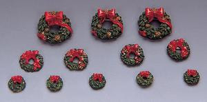 34957 -  Wreaths with Red Bow, Set of 12 - Lemax Christmas Village Misc. Accessories