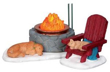 24497 - Lodge Fire Pit, Set of 2, Battery-Operated (4.5v)  - Lemax Christmas Village Misc. Accessories