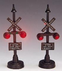 34954 -  Railway Stop Light, Set of 2, Battery-Operated (4.5v) - Lemax Christmas Village Misc. Accessories