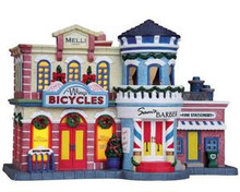 85693 -  Bike, Barber & Stationery Shop - Lemax Plymouth Corners Christmas Houses & Buildings