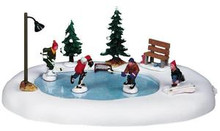 94017 -  After School Hockey Match, Battery-Operated (4.5v) - Lemax Christmas Village Table Pieces