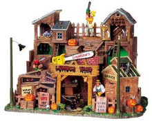95802 - Chainsaw's Lumber Yard with 4.5v Adaptor - Lemax Spooky Town Halloween Village Houses & Buildings