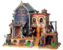 95803 - Dry Gulch County Jail with 4.5v Adaptor - Lemax Spooky Town Halloween Village Houses & Buildings