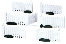14388 - Plastic Picket Fence, Set of 7 - Lemax Christmas Village Misc. Accessories