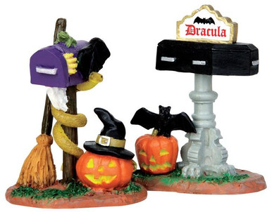 44740 - Monster Mailboxes, Set of 2  - Lemax Spooky Town Halloween Village Accessories