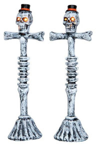 44745 - Scary Lamp Post, Set of 2, Battery-Operated (4.5-volt)  - Lemax Spooky Town Halloween Village Accessories