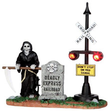 44746 - Grim Railway Switchman, Battery-Operated (4.5-volt)  - Lemax Spooky Town Halloween Village Accessories