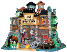 45664 - Isle of No Return Prison, with 4.5v Adaptor  - Lemax Spooky Town Halloween Village Houses & Buildings