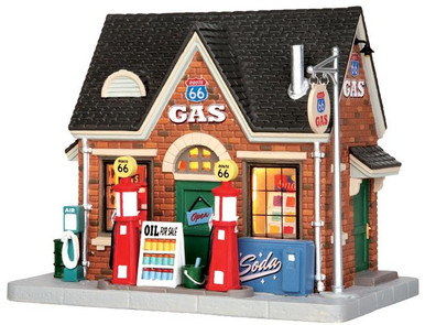 45703 - Vintage Gas Station  - Lemax Jukebox Junction Christmas Houses & Buildings