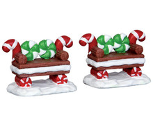 44812 - Peppermint Cookie Bench, Set of 2 - Lemax Misc. Accessories