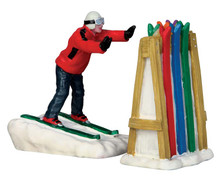 52363 - Ski Rack Disaster, Set of 2 - Lemax Christmas Figurines