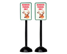 "54939 - ""Reindeer Parking Only"" Sign, Set of 2 - Lemax Misc. Accessories"