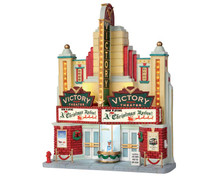 55920 - Victory Theater, Battery-Operated (4.5v) - Lemax Christmas Village Facades
