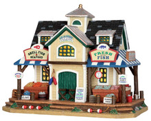 55945 - Seaside Fish & Seafood Market - Lemax Plymouth Corners Christmas Houses & Buildings