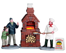 64066 - Outdoor Pizza Oven, Set of 4, Battery-Operated (4.5 Volts) - Lemax Misc. Accessories