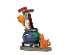 74220 - Cauldron Broom Holder - Lemax Spooky Town Accessories