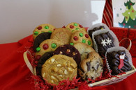 Gourmet Cookie Basket with Three Chocolate Pecan Brownies