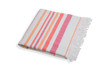 Woven Towel w/Terry- Pink/Orange